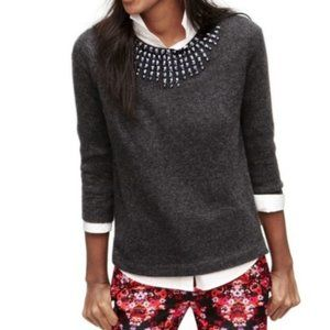J. Crew Starburst Jeweled Wool Blend Crew Sweater